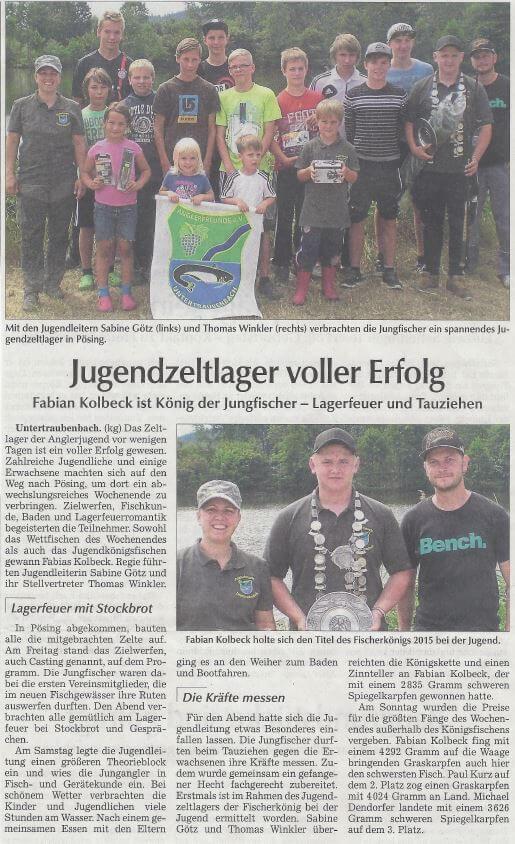 Jugendzeltlager 2015 Poesing Zeitungsbericht