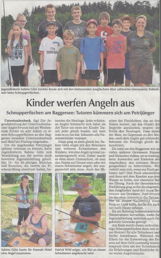 Schnupperangeln Anglerfreunde Untertraubenbach 2015 Zeitungsbericht